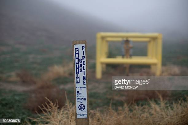 The boundary of Southern California Gas Company property where Aliso Canyon Storage Field is located is seen as people continue to be affected by a...