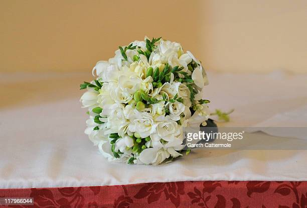 The bouquet of flowers left by Princess Charlene of Monaco inside Sainte Devote church after the religious wedding ceremony at the Prince's Palace of...