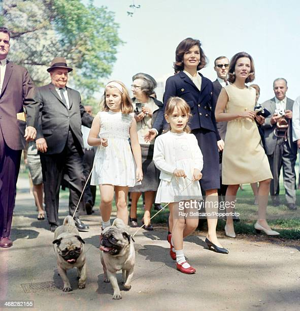 The Bouvier sisters Jacqueline Kennedy widow of the United States president John F Kennedy and Princess Lee Radziwill and their respective daughters...