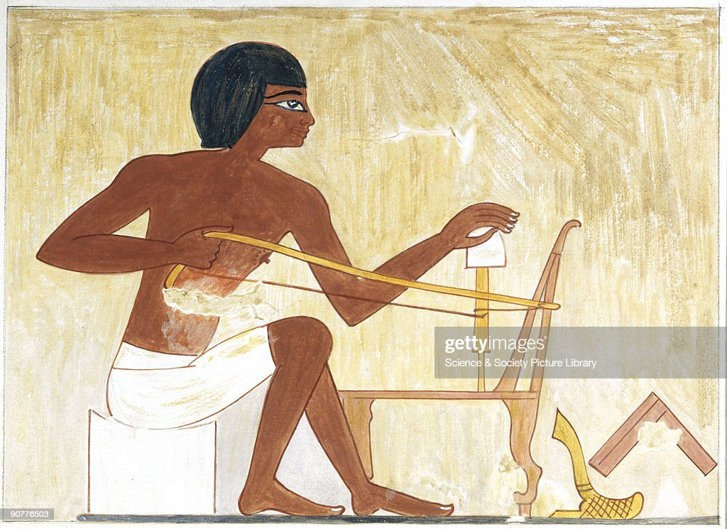The bow drill is one of the most ancient tools made and used by man and this illustration shows an Egyptian worker drilling holes by this means in...