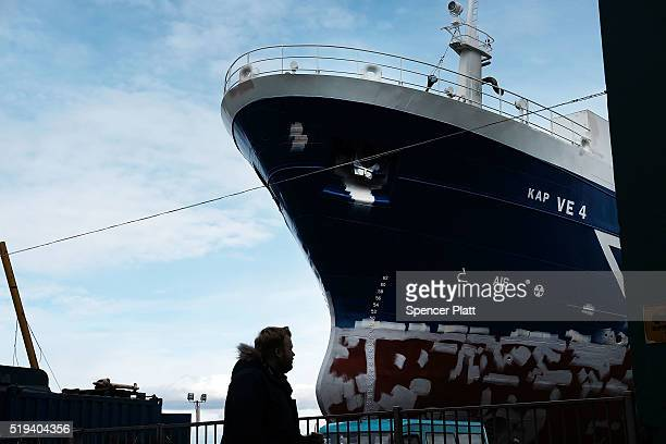 The bow of a ship prutrudes along a street near a shipyard on April 6 2016 in Reykjavik Iceland Icelandic Prime Minister Sigmundur David Gunnlaugsson...