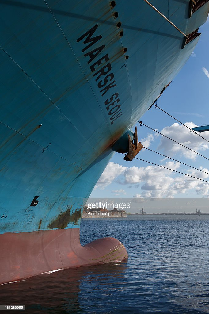 The bow of container ship Maersk Seoul, operated by AP Moeller-Maersk A/S, is seen docked at the APM Terminal in the Port of Rotterdam, in Rotterdam, Netherlands, on Thursday, Sept. 19, 2013. The pace of economic contraction in the Netherlands, which is in its third recession in five years, is slowing. Photographer: Jasper Juinen/Bloomberg via Getty Images
