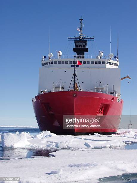 The bow of the 420foot US Coast Guard Cutter Healy Alaska Beafort Sea North of Point Barrow Photographed by Elisabeth Calvert Dated 2005