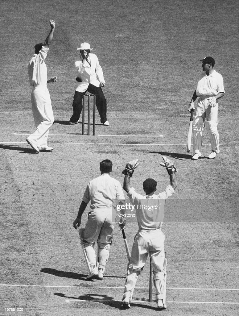 The bowler appeals and the umpire's finger goes up as Close fails again and is out LBW to Johnston during final scenes of the 4th day of the second test match at Melbourne, 3rd January 1951.