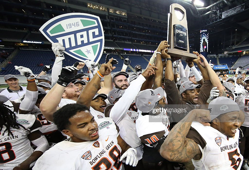 The Bowling Green Falcons celebrate a win over Northern Illinois Huskies in the MAC Championship on December 4 2015 at Ford Field in Detroit Michigan...