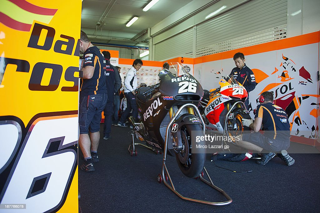 The box of Dani Pedrosa of Spain and Repsol Honda Team with the old e new bikes during the MotoGP Tests in Valencia - Day 2 at Ricardo Tormo Circuit on November 12, 2013 in Valencia, Spain.