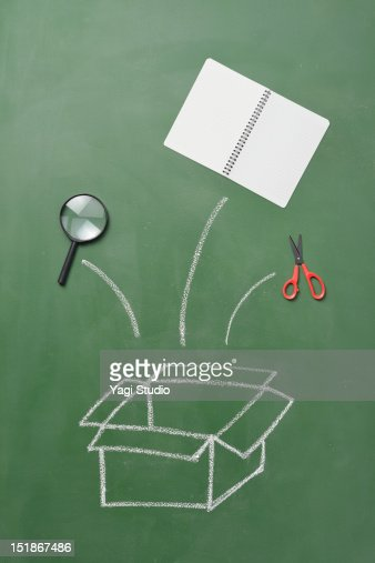 The box which was drawn on the blackboard and tool : Stock Photo