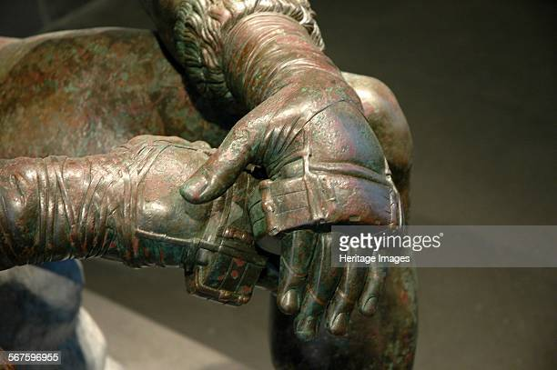 The Boxer of Quirinal or Therme Boxer Bronze Hellenistic orginal found at the remains of the Baths of Constantine Detail showing the caestus Country...