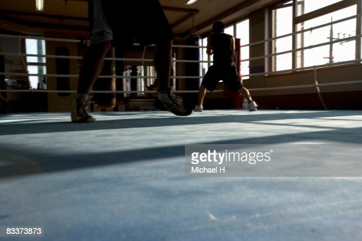 The boxer who practices on a ring : Stock Photo