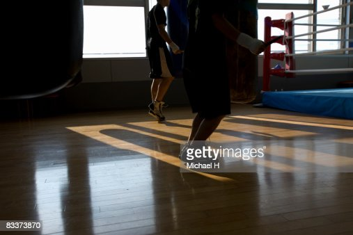 The boxer who skips rope : Stock Photo
