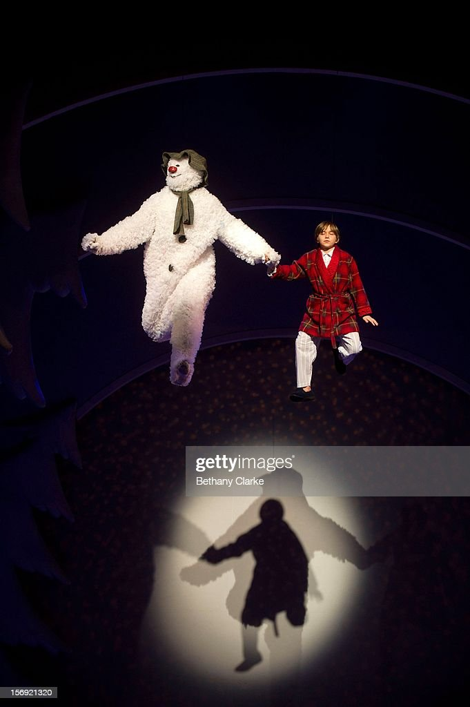 The boy and his snowman rehearse the scene where they fly to the song 'Walking in the Air' by Howard Blake at the Peacock Theatre on November 24, 2012 in London, England. The stage show is based on Raymond Briggs 'The Snowman' and will be the 14th year it has been staged by Sadlers Wells.