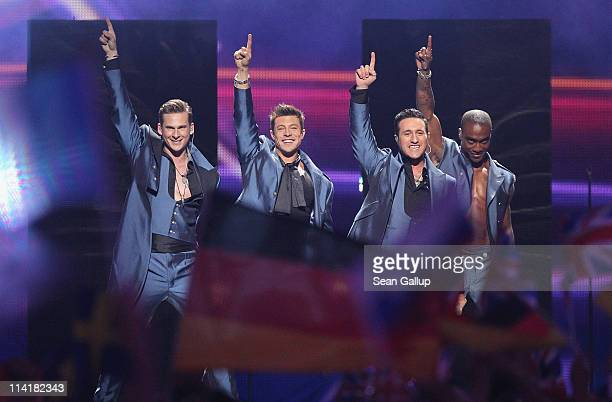 The boy band Blue of the United Kingdom perform in the grand finale of the Eurovision Song Contest 2011 on May 14 2011 in Dusseldorf Germany
