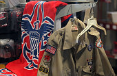 The Boy Scout logo and a uniform are displayed in a store at the Marin Council of the Boy Scouts of America on July 27 2015 in San Rafael California...