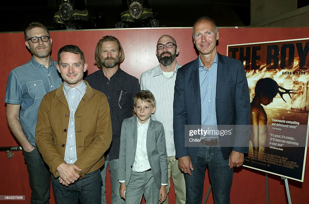 THE BOY -- 'The Boy' Screening at The Egyptian Theater in Los Angeles, CA on Friday, August 14, 2015 -- Pictured: (L to R ) <a gi-track='captionPersonalityLinkClicked' href=/galleries/search?phrase=Daniel+Noah&family=editorial&specificpeople=10948795 ng-click='$event.stopPropagation()'>Daniel Noah</a>, Producer, <a gi-track='captionPersonalityLinkClicked' href=/galleries/search?phrase=Elijah+Wood&family=editorial&specificpeople=171364 ng-click='$event.stopPropagation()'>Elijah Wood</a>, Producer, Josh Waller, Producer, Jared Breeze, Clay McLeod Chapman, Co-Writer, and Dave Howe, President Chiller. . --