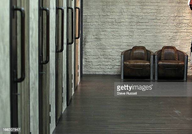 The boyfriend chairs outside the dressing rooms as the UK fashion retailer AllSaints open a boutique at the Yorkdale Shopping Centre in Toronto