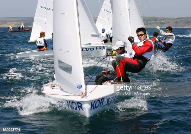 The boy's 420 class race at the Volvo Youth Sailing ISAF World Championship's at the Weymouth and Portland National Sailing Academy in Weymouth Dorset