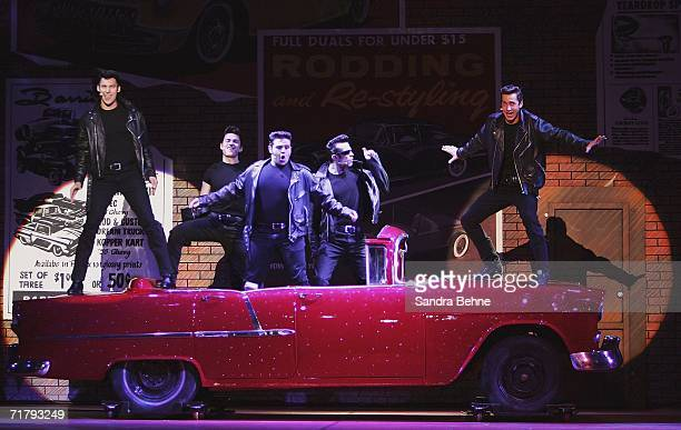 'The Boys' perform 'Grease Lightning' on stage during a photocall for the musical 'Grease' on September 6 2006 in Munich Germany