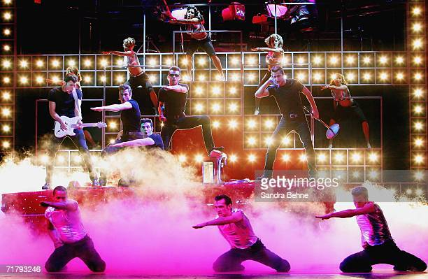 'The Boys' perform on stage to the song 'Grease Lightning' during a photocall for the musical 'Grease' on September 6 2006 in Munich Germany