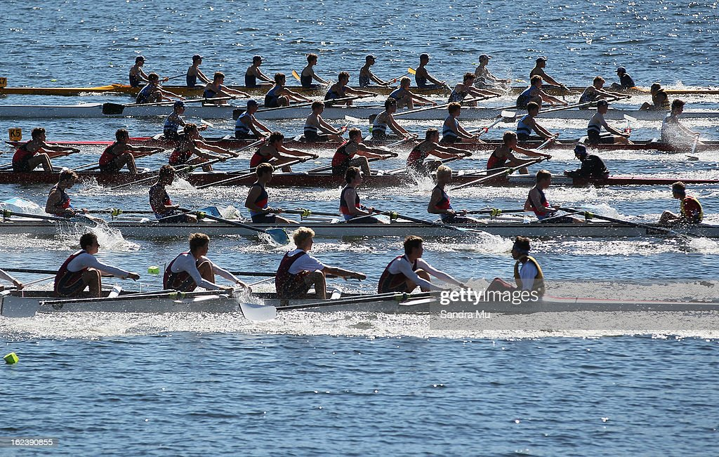 The Boys U17 eight leave the start pontoon during the New Zealand Junior Rowing Regatta on February 23, 2013 in Auckland, New Zealand.