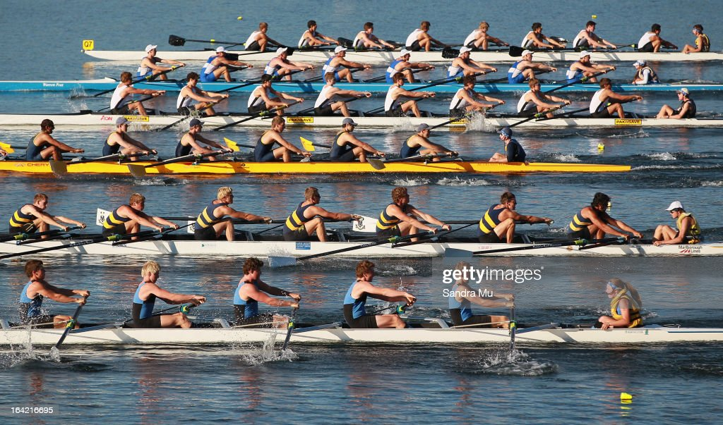 The boys U18 eight leave the start pontoon in the first repecharge during day four of the Maadi Cup at Lake Karapiro on March 21, 2013 in Cambridge, New Zealand.