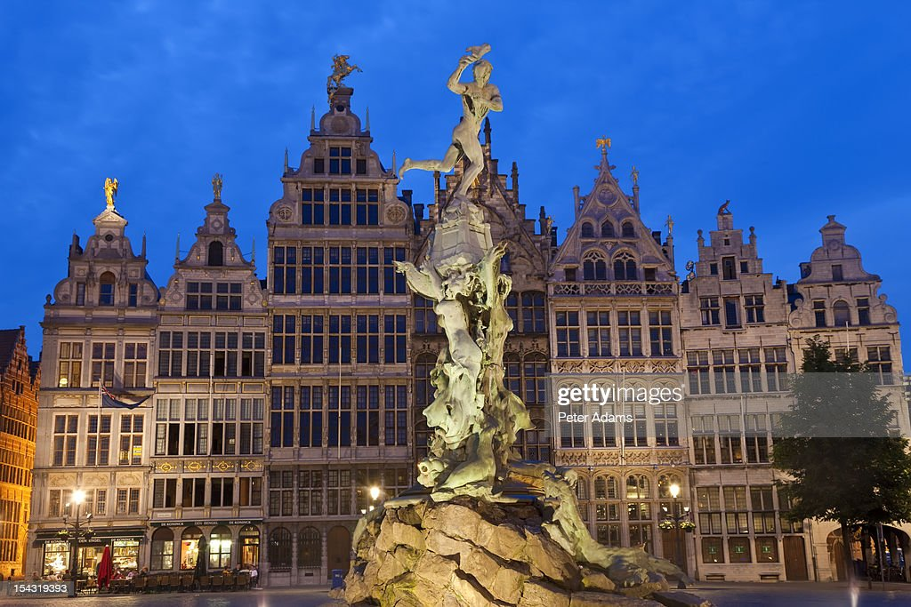 The Brabo Fountain, Main Square, Antwerp, Belgium : Stock Photo