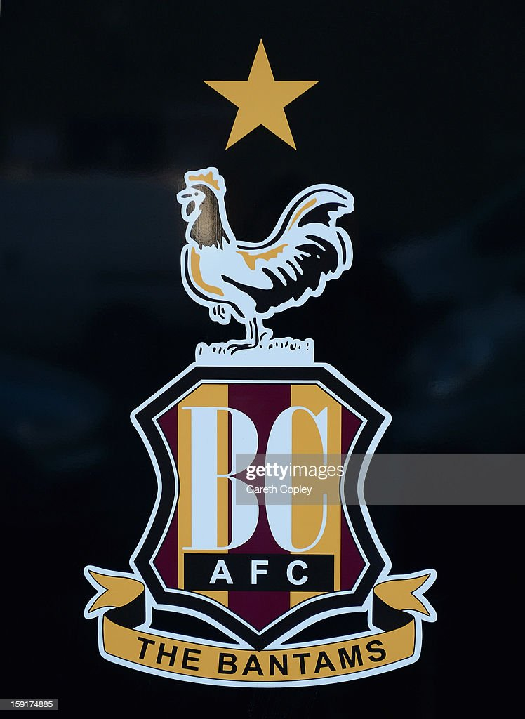 The Bradford City club badge at Valley Parade Stadium on January 9, 2013 in Bradford, United Kingdom.