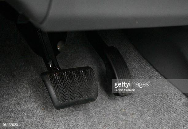 The brake and accelerator pedals are seen in a 2010 Toyota Prius hybrid car February 4 2010 in San Francisco California The National Highway Traffic...