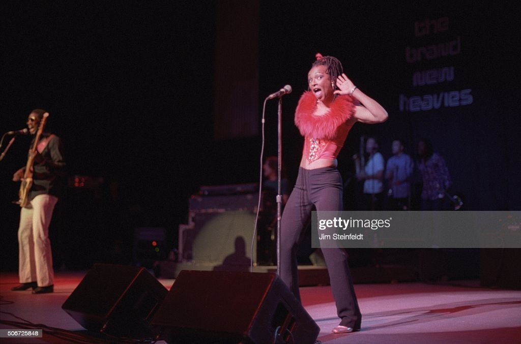 The Brand New Heavies perform during the Smokin' Grooves Tour at the Universal Amphitheatre in Los Angeles California on July 30 1997