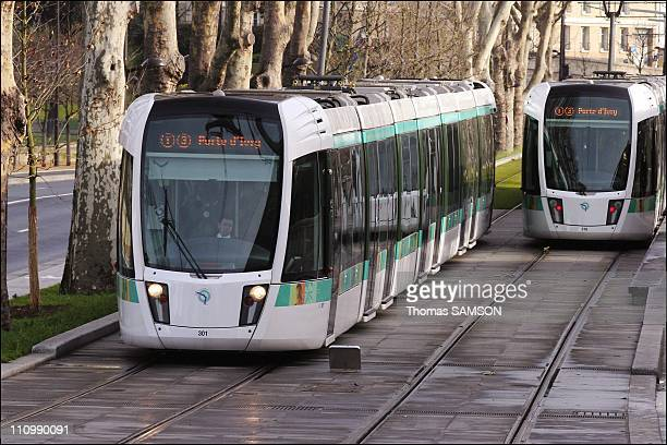 The brand new Parisian tram is in service in Paris France on December 17 2006