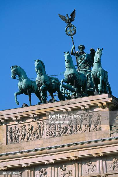 The Brandenburg Gate Angled view of the Quadriga on top of the gate