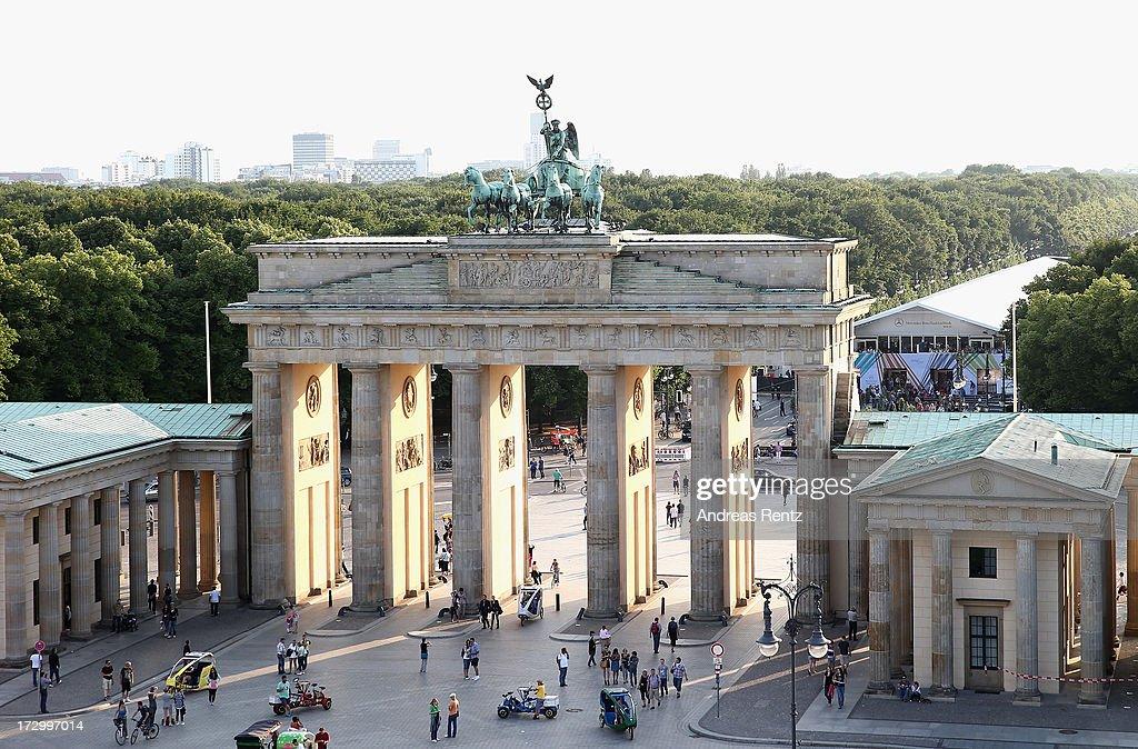 The Brandenburg Gate at Pariser Platz photographed during the Designers Get Together at Dachresidenz during the MercedesBenz Fashion Week...