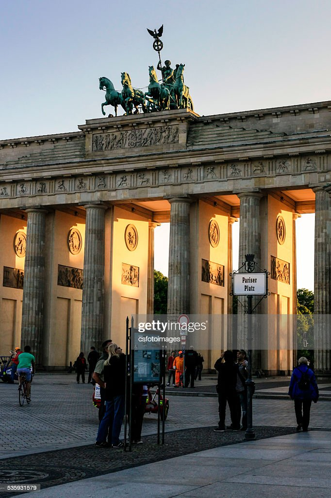The Brandenburg Gate in Berlin at sundown : Stock Photo