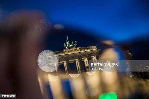 The Brandenburg Gate is seen through sun glasses on May 29 2016 in Berlin Germany
