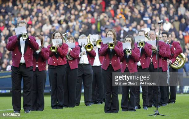 The brass band entertain the Murrayfield crowd