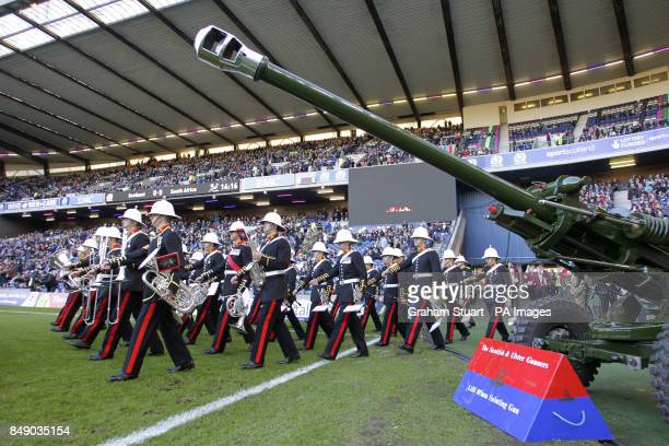The brass band walk out to entertain the Murrayfield crowd