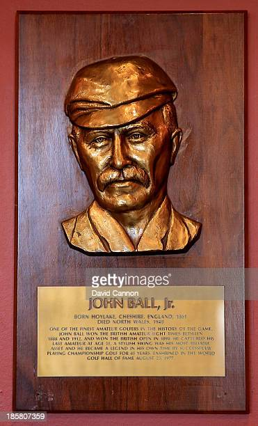 The brass plaque in the entrance hall to the clubhouse of John Ball Jr who won the British Amateur Championship on eight occasions and The Open...