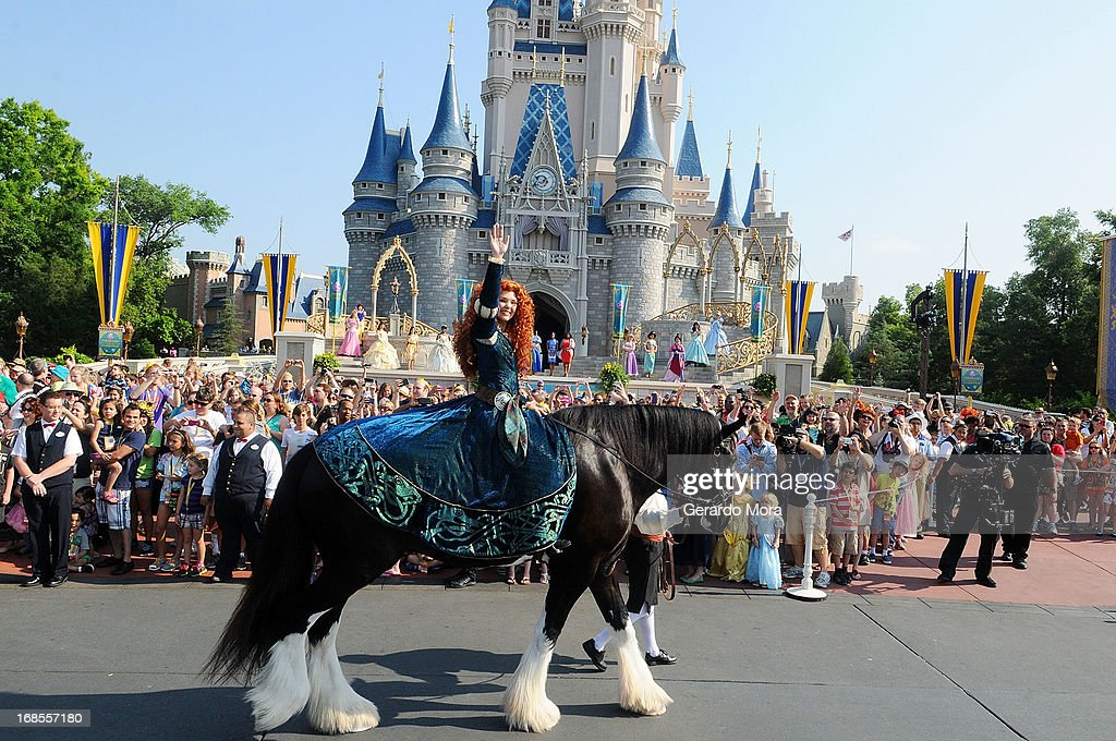 The brave and passionate Merida rides into the celebration on her horse Angus at the Magic Kingdom at Walt Disney World Resort in conjunction with Mother's Day festivities on May 11, 2013 in Lake Buena Vista, Florida.