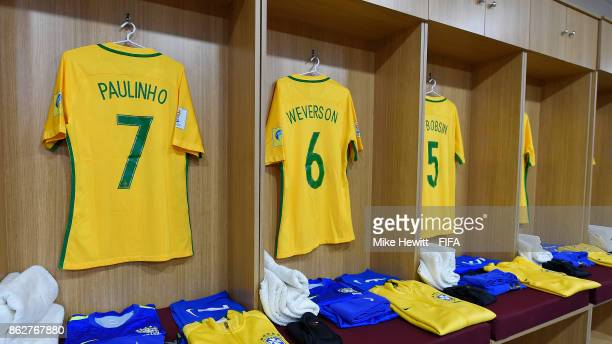 The Brazil changing roon is prepared ahead of the FIFA U17 World Cup India 2017 Round of 16 match between Brazil and Honduras at the Jawaharlal Nehru...