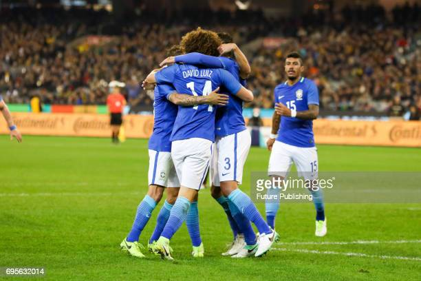 The Brazil team celebrates Tiago Silva's goal as Brazil beats Australia in the Chevrolet Brasil Global Tour 2017 on June 13 2017 in Melbourne...