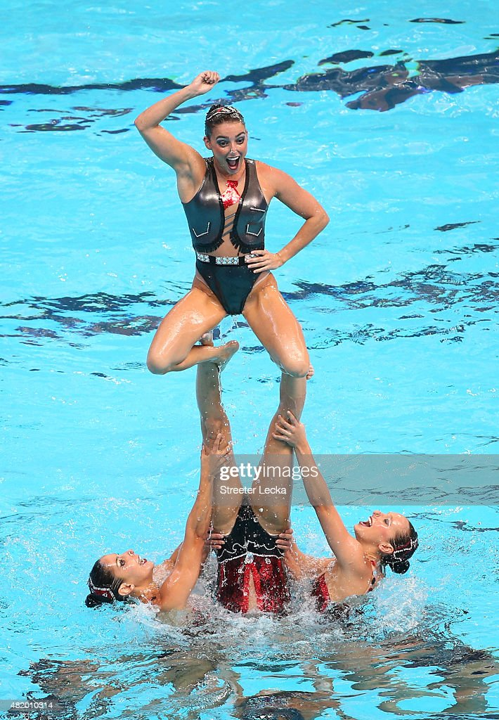 The Brazil team competes in the Women's Free Combination Preliminary Synchronised Swimming on day two of the 16th FINA World Championships at the...