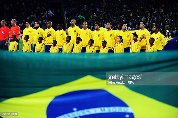 The Brazil team during the national anthems before the FIFA Confederations Cup Final between USA and Brazil at the Ellis Park Stadium on June 28 2009...