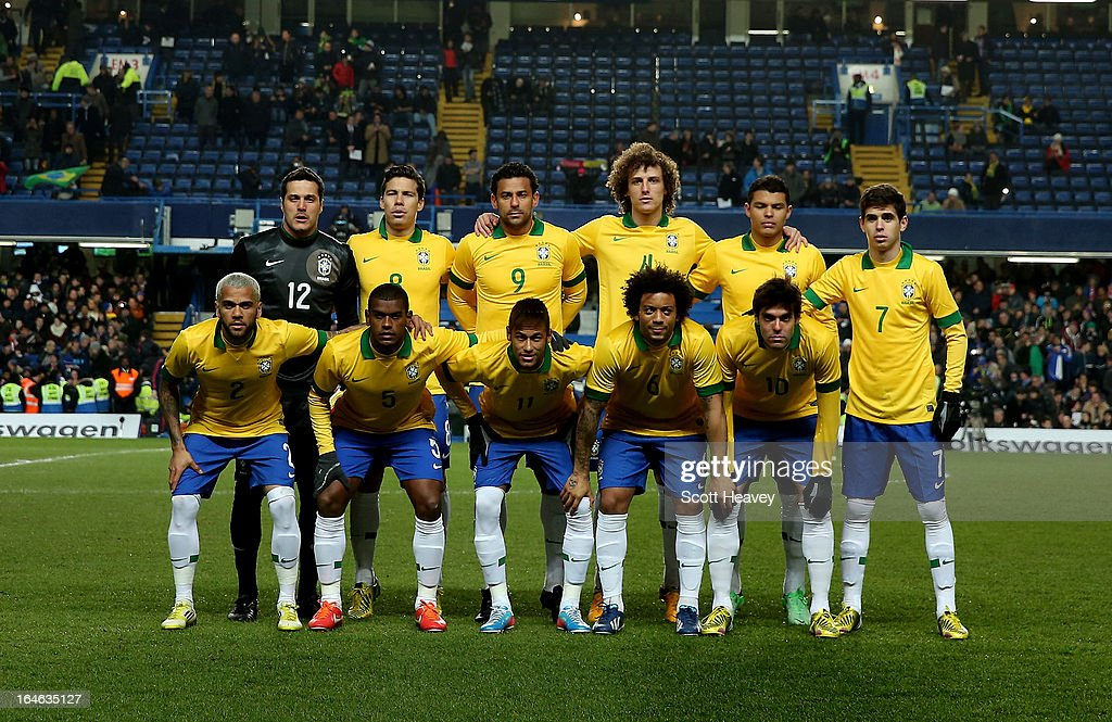 The Brazil team line up during an International Friendly between Brazil and Russia at Stamford Bridge on March 25, 2013 in London, England.