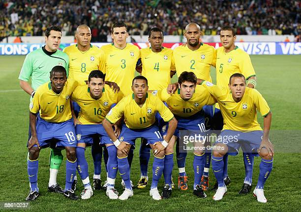 The Brazil Team line up during the FIFA Confederations Cup match beween Italy and Brazil at The Loftus Versfeld Stadium on June 21 2009 in Pretoria...