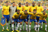 The Brazil team line up for a group photo prior to the 2010 FIFA World Cup South Africa Group G match between Portugal and Brazil at Durban Stadium...