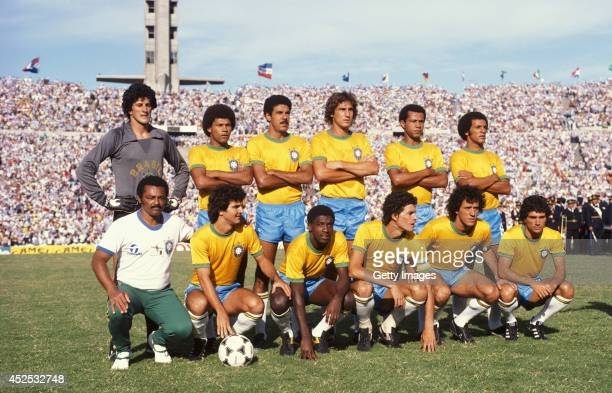 The Brazil team line up including captain Socrates front row before the Copa De Oro match between Argentina and Brazil on January 4 1981 in...
