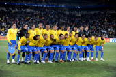 The Brazil team poses during the 2009 Confederations Cup final match between Brazil and USA from Ellis Park on June 28 2009 in Johannesburg South...