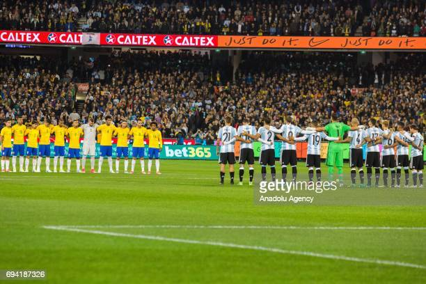 The Brazilian and Argentine observe a minutes silence in remembrance of the terrorist attack in London before a friendly football international...