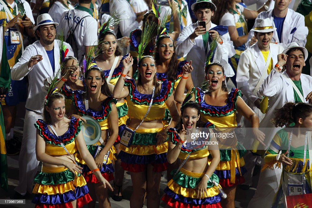 The Brazilian delegation marches during the opening ceremony of The Maccabiah, the Jewish Olympic games held in Jerusalem under the auspices of the Maccabi Federation on July 18, 2013. AFP PHOTO/GALI TIBBON