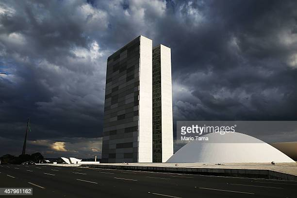 The Brazilian National Congress building is shown on October 27 2014 in Brasilia Brazil Brazil's leftwing President Dilma Rousseff was narrowly...