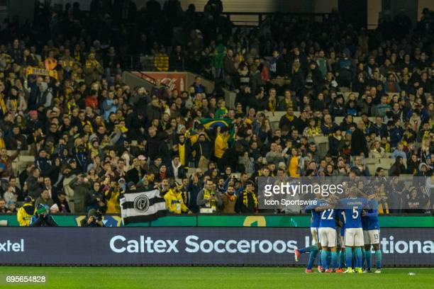 The Brazilian National Football Team celebrate their 4rd goal of the match in front of supporters during the International Friendly Match Between...